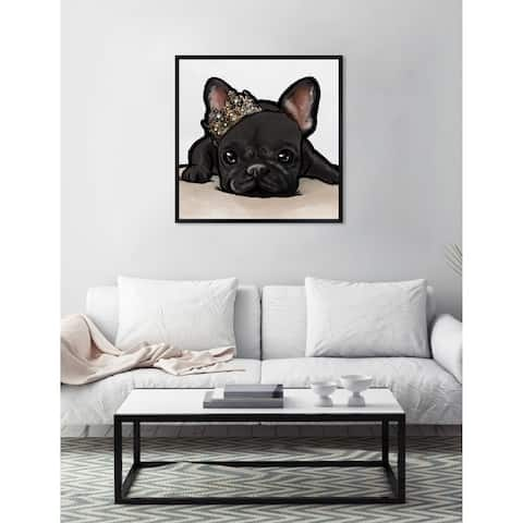 Oliver Gal 'Royal Frenchie Grey' Dogs and Puppies Framed Art Print