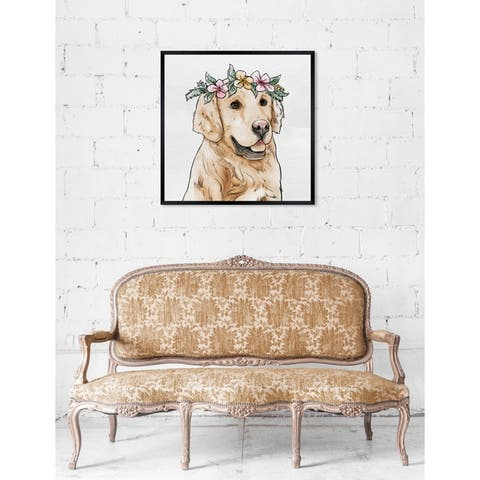 Oliver Gal 'Floral Crowned Golden Retriever' Dogs and Puppies Framed Art Print