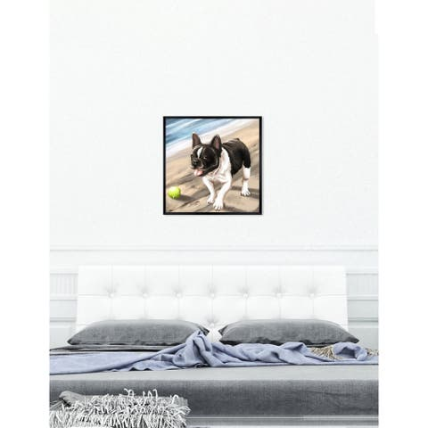 Oliver Gal 'Beach time Frenchie' Dogs and Puppies Framed Art Print