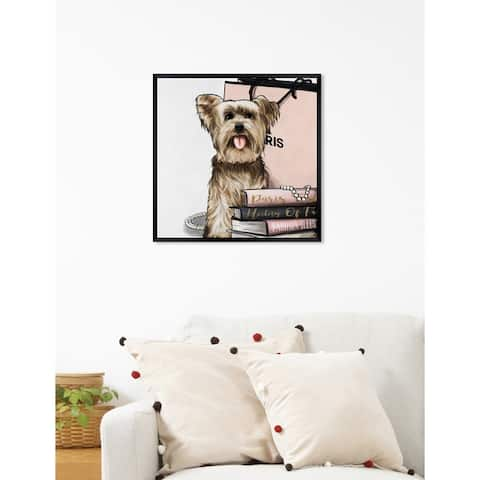 Oliver Gal 'Fashion Book Yorkie Glam II' Dogs and Puppies Framed Art Print