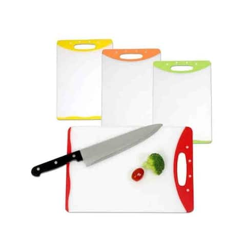 "Home Basics 8"" x 12"" Rubberized Non-slip Edges Plastic Cutting Board"