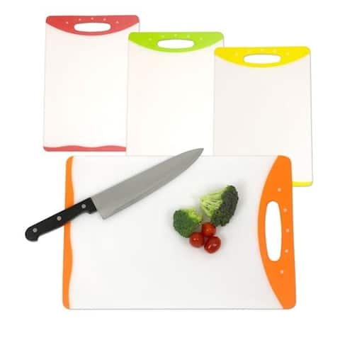 "Home Basics 10"" x 15"" Rubberized Non-slip Edges Plastic Cutting Board"