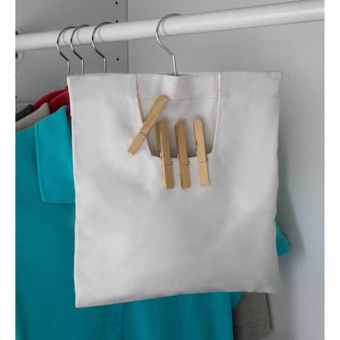 Sunbeam Canvas Clothespin Bag with Heavy Duty Steel Hook - White