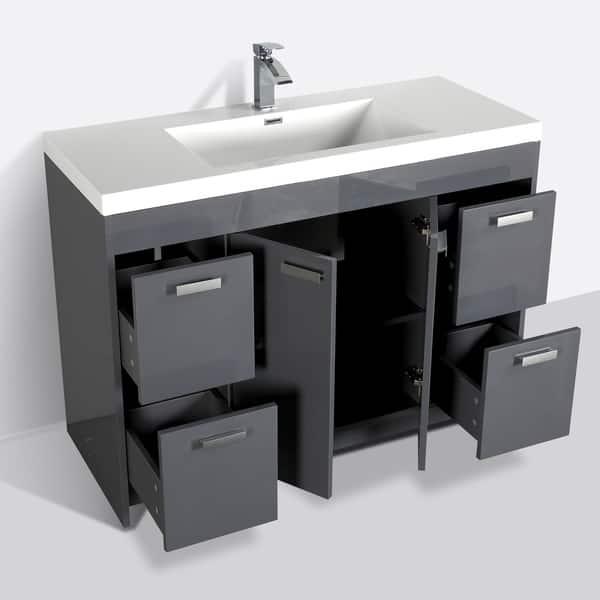 Eviva Lugano 48 Inch Gray Modern Bathroom Vanity With White Integrated Acrylic Top Overstock 23565154