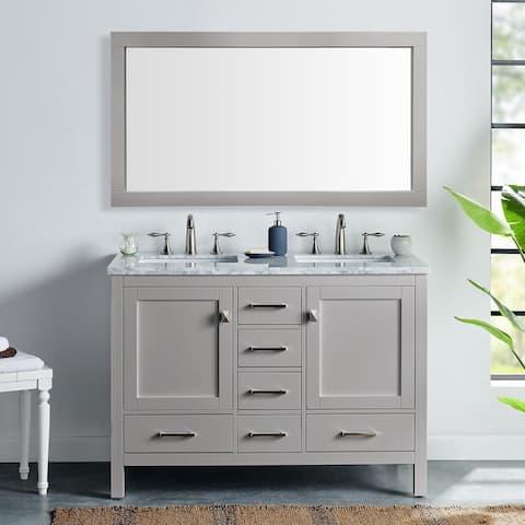 "Eviva Aberdeen 48"" Gray Transitional Double Sink Bathroom Vanity w/ White Carrara Top"