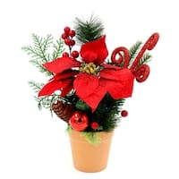 ALEKO Christmas Centerpiece Holiday Arrangement Green and Red