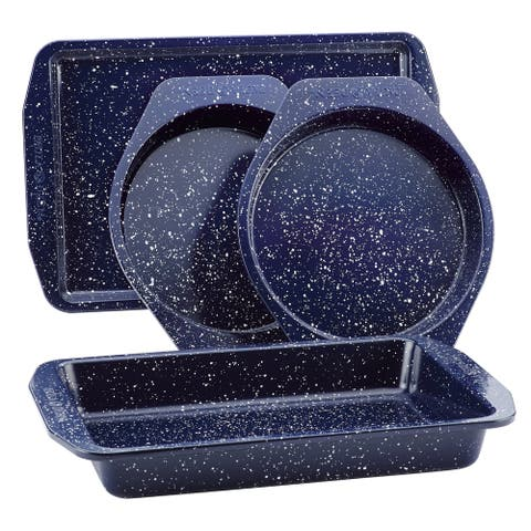Paula Deen Nonstick Speckled 4pc Bakeware Set, Deep Sea Blue Speckle