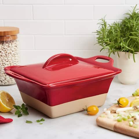 Rachael Ray Collection 2.5-Quart Stoneware Square Casserole, Cherry