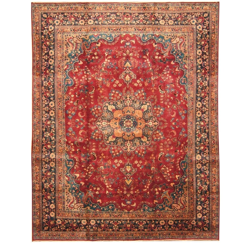 Handmade Herat Oriental Persian Hand-knotted Mashad Wool Rug (96 x 126) (burgundy)