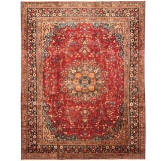 Handmade Herat Oriental Persian Hand-knotted Mashad Wool Rug (9'6 x 12'6)
