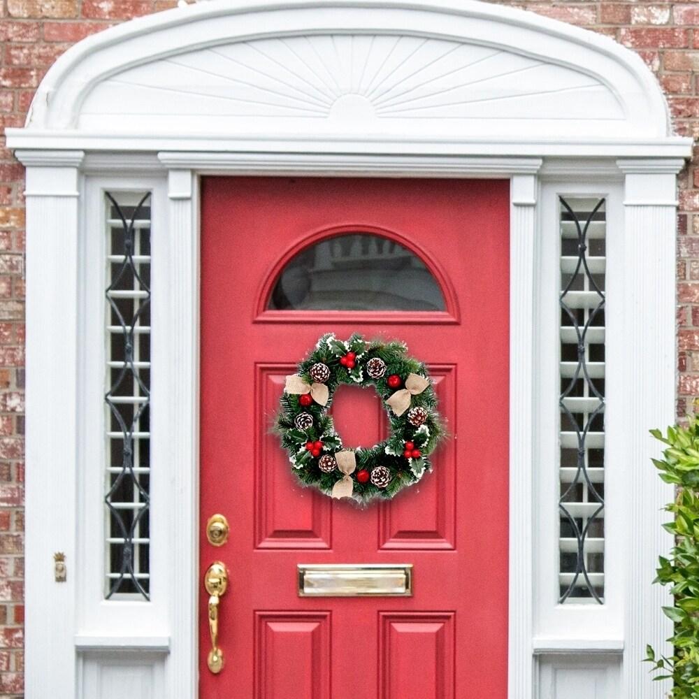 ALEKO Wall Door Decorative Holiday Christmas Wreath Green and Red