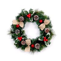 ALEKO Decorative Holiday Christmas Wreath 16 inch Green and Red