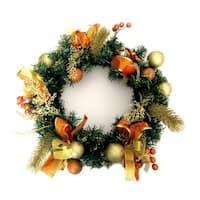 "ALEKO Decorative Holiday Christmas Wreath 16"" Gold and Orange"
