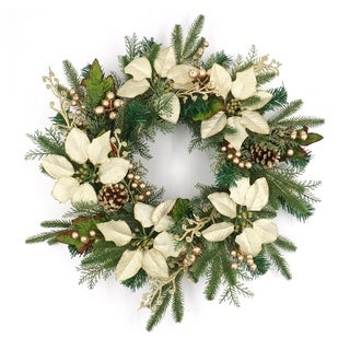 """ALEKO Decorative Holiday Christmas Wreath 23.5"""" Green and Gold - Diameter: 23.5 inches"""