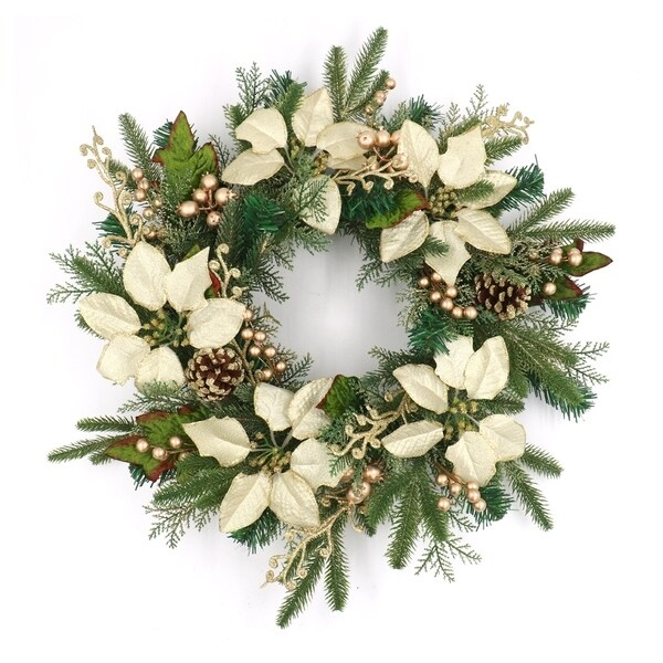 "ALEKO Decorative Holiday Christmas Wreath 23.5"" Green and Gold"