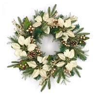 "ALEKO Decorative Holiday Christmas Wreath 23.5"" Green and Gold"