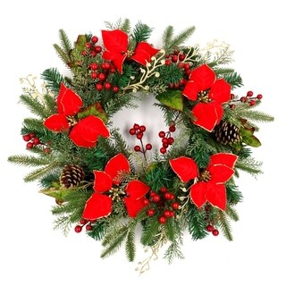 ALEKO Decorative Holiday Christmas Wreath 21.5 inch Red and Gold