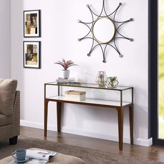 Carson Carrington Geirangerfjord Metal and Glass Console Table