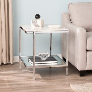 Silver Orchid Hinding Faux Marble End Table