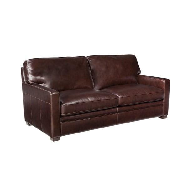 Shop Simon Li Joliet Brown Top Grain Leather Queen Sleeper Sofa