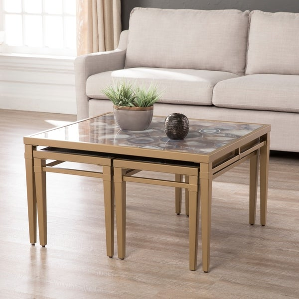 Silver Orchid Hinding Faux Stone Nesting Coffee Tables (3-piece)