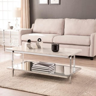 Silver Orchid Hinding Faux Marble Cocktail Table