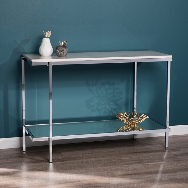 Silver Orchid Hinding Faux Marble Console Table