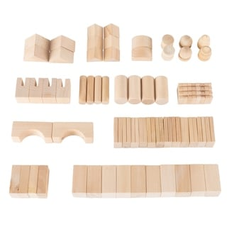 Wooden Blocks-65 Pc. Classic Building Set with Storage Bag by Hey! Play!