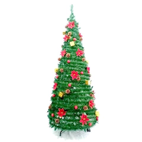 ALEKO Instant Pop Up Christmas Holiday 7 foot Tree Decorations Included