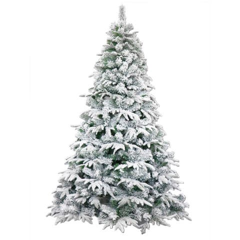 ALEKO Deluxe Artificial Christmas Holiday Snow Dusted Tree 7 Foot