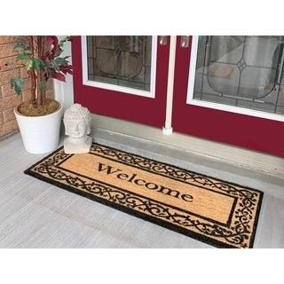 18 x 48 Welcome Border Large Coir Double Doormat