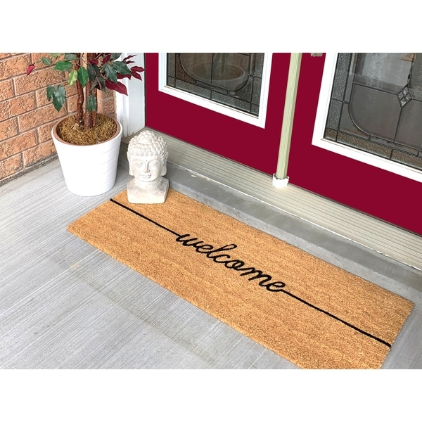 Shop 18 X 48 Welcome Large Coir Doormat Free Shipping On