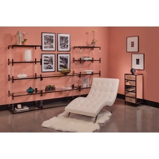 OSP Home Furnishings Marquis 5 Drawer Vertical Mirrored Cabinet