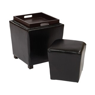OSP Designs 2 Piece Bonded Leather Ottoman Set