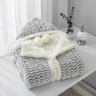 Chic Home Ford Snuggle Hoodie Two-Tone Pattern Print Wearable Blanket