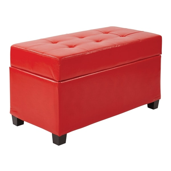Vinyl Storage Ottoman in Red. Opens flyout.