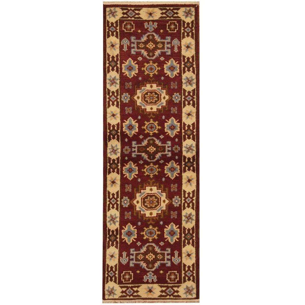 Handmade Herat Oriental Hand-knotted Indo Kazak Wool Rug (22 x 65) - 22 x 65 (Red - 22 x 65)