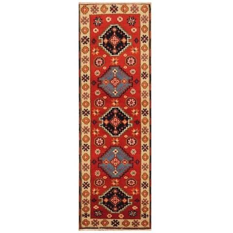 Handmade One-of-a-Kind Kazak Wool Rug (India) - 2'2 x 6'9