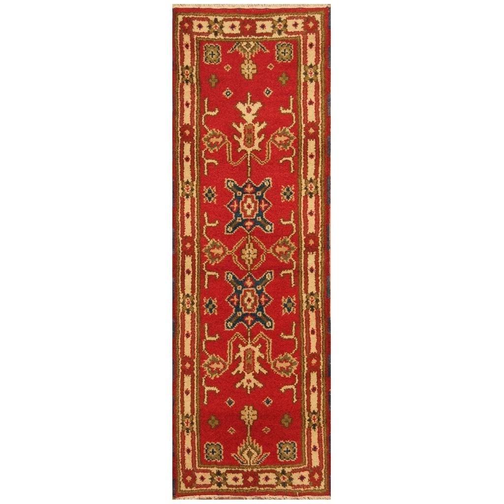 Handmade Herat Oriental Hand-knotted Indo Kazak Wool Rug (22 x 67) (RED)