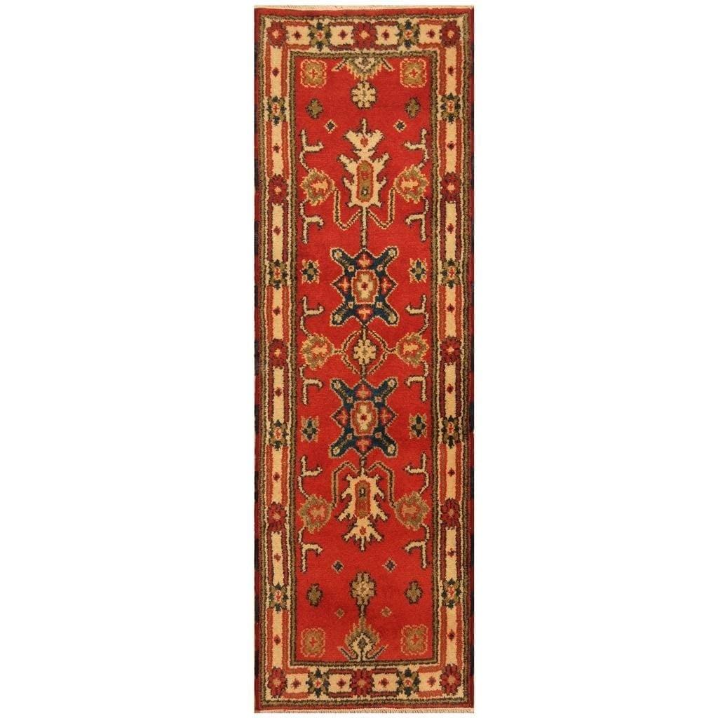 Handmade Herat Oriental Hand-knotted Indo Kazak Wool Rug (21 x 69) - 21 x 69 (Red - 21 x 69)