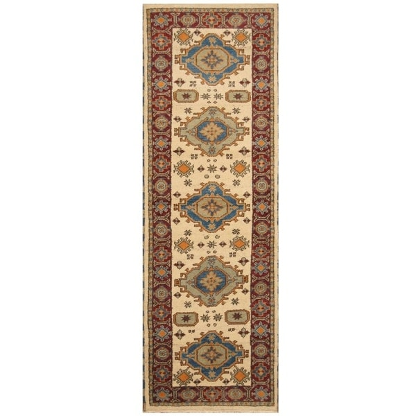 Handmade Kazak Wool Rug (India) - 2'9 x 8'5