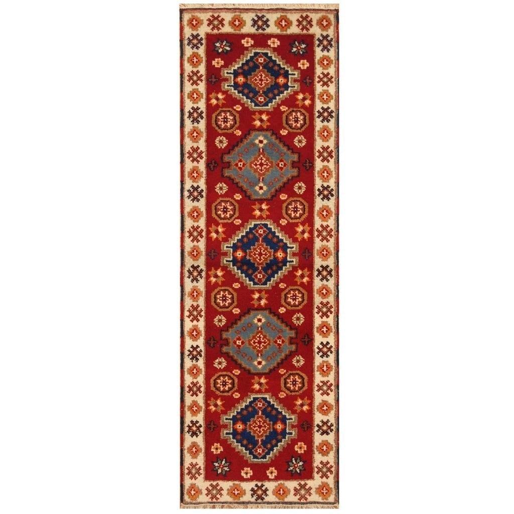 Handmade Herat Oriental Hand-knotted Indo Kazak Wool Rug (22 x 6) (RED)