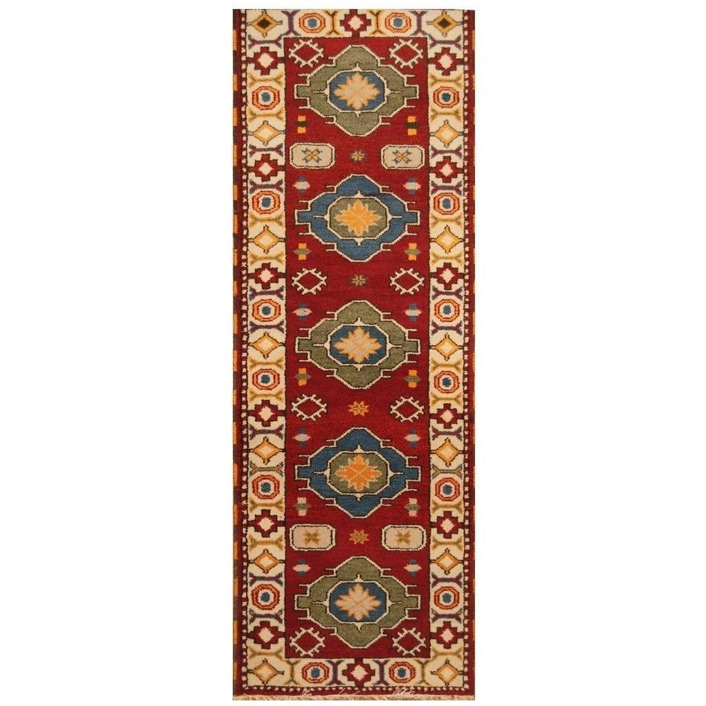 Handmade Herat Oriental Hand-knotted Indo Kazak Wool Rug (210 x 83) - 210 x 83 (Red - 210 x 83)