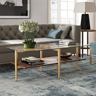 Otto Mid-Century Glam Coffee Table in Gold with Walnut Shelf