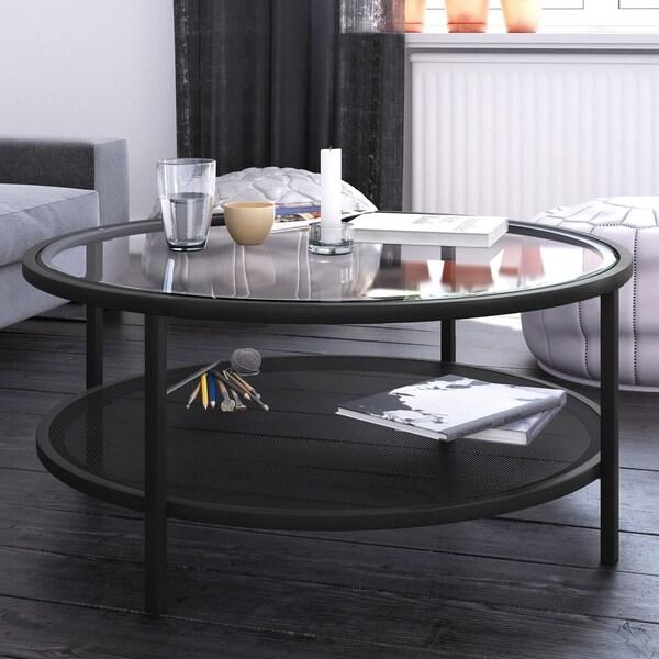 Carbon Loft Mornie Industrial Metal Round Coffee Table in Blackened Bronze