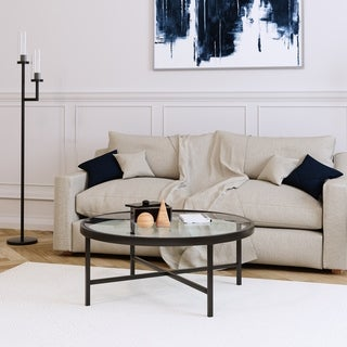 Sivil Contemporary Metal/Glass Coffee Table in Blackened Bronze