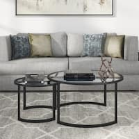 Mitera Round Metal/Glass Nesting Coffee Tables Set of 2 (Optional Finishes)
