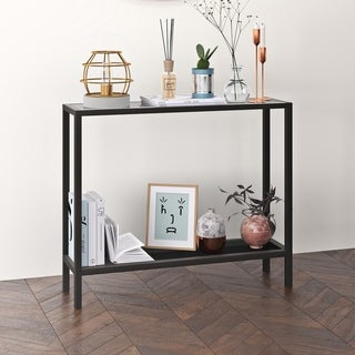 Rigan Metal & Glass Console Table in Blackened Bronze