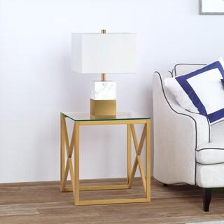 Dixon Geometric X-Base Metal & Glass Side Table in Golden Brass Finish