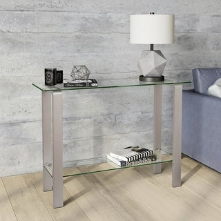 Asta Metal & Glass Console Table in Silver Nickel Finish